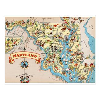 Maryland Funny Vintage Map Postcard