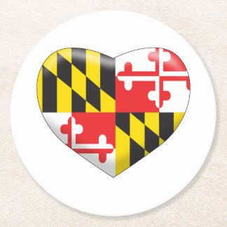 Maryland Heart Round Paper Coaster