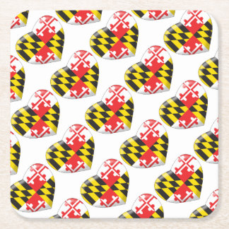 Maryland Heart Square Paper Coaster
