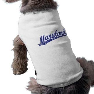Maryland script logo in blue distressed sleeveless dog shirt