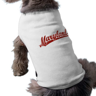 Maryland script logo in red distressed sleeveless dog shirt