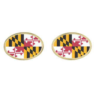 Maryland State Flag Design Gold Finish Cufflinks