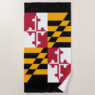 Maryland State Flag Design on a Beach Towel