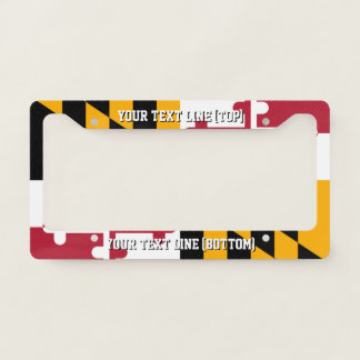 Maryland State Flag Design on a Personalized Licence Plate Frame