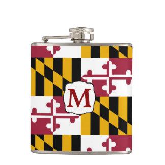 Maryland State Flag Monogram Hip Flask