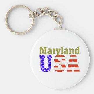 Maryland USA! Basic Round Button Key Ring