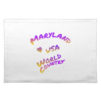 Maryland usa world country, colorful text art placemat