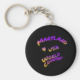 Maryland world country, colorful text art key ring