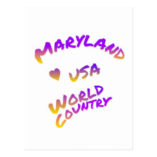 Maryland world country, colorful text art postcard