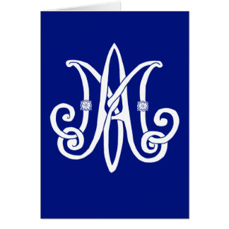 Mary's Monogram with roses Card