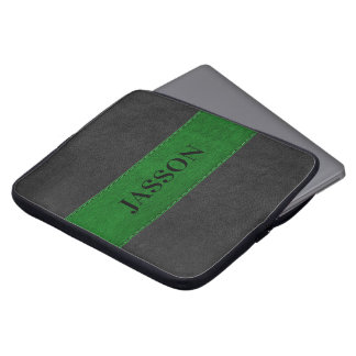 Masculine Black And Green Faux Leather Laptop Sleeve