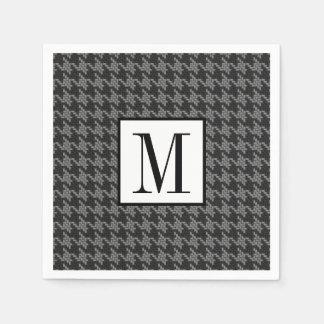 Masculine Black Gray Houndstooth Optional Monogram Disposable Serviette