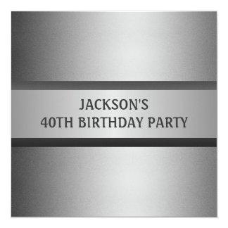 Masculine Black Grey 40th Birthday Party Card