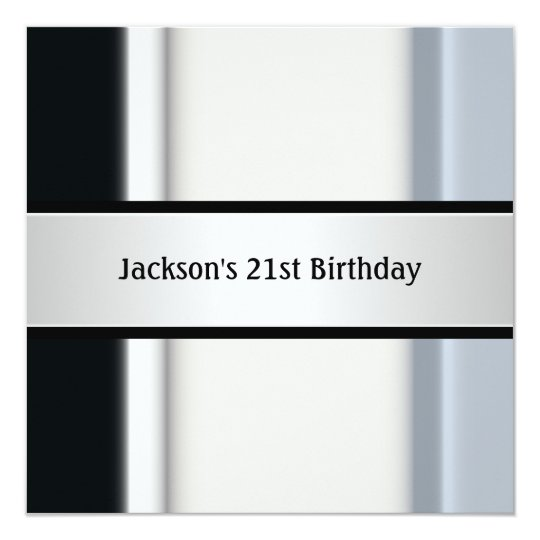 Masculine Black White Blue 21st Birthday Party Card