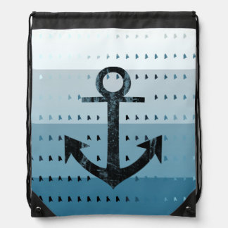 Masculine Blue Anchor Nautical Pattern Design Drawstring Bag