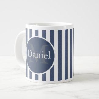 Masculine Blue Striped Personalized Monogrammed Large Coffee Mug