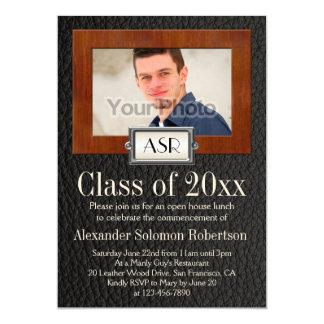 Masculine Boys Leather Wood Monogram Graduation 5x7 Paper Invitation Card