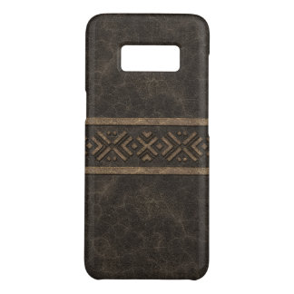 Masculine Brown Leather Look with Tribal Band Case-Mate Samsung Galaxy S8 Case