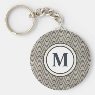 Masculine Chevron Wave Pattern in Blue and Beige Key Ring