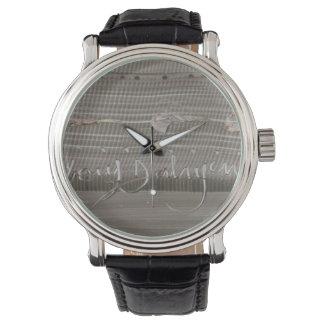 masculine clock with modern art watch