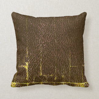 Masculine Distressed Leather Throw Pillow, Brown Cushion