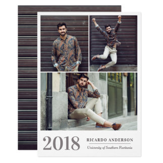 Masculine Garage Door College Photo Graduation Card