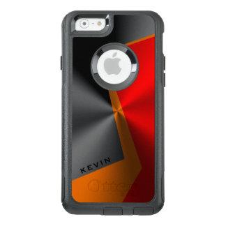 Masculine Geometric Metallic Red Black & Orange OtterBox iPhone 6/6s Case