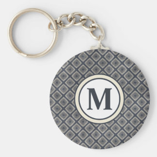 Masculine Geometric Squares Pattern Blue and Beige Key Ring