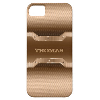 Masculine Gold And Light Brown Brushed Metal Look Barely There iPhone 5 Case