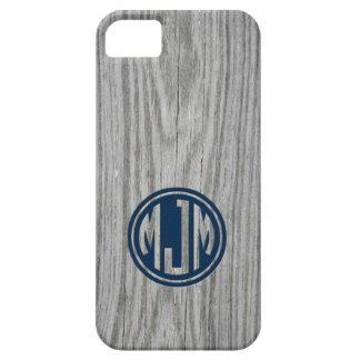 Masculine Gray Barn Wood Custom Circle Monogram iPhone 5 Case