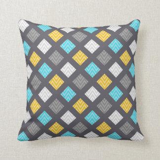 Masculine Gray Blue Yellow Geometric Pattern Cushion