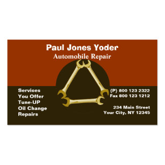 Masculine GUYS Mechanic Tools Wrench Pack Of Standard Business Cards