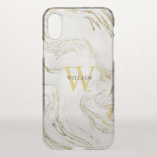 Masculine Marbled Monogram Minimalist Typography iPhone X Case