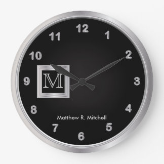 Masculine Monogram Black and Silver Executive Large Clock