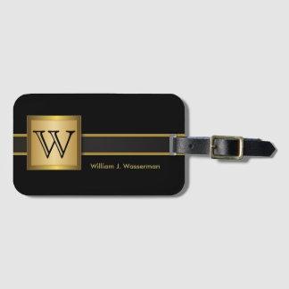 Masculine Monogram Executive Style - Black & Gold Luggage Tag