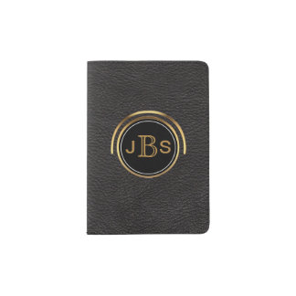 Masculine Monogram Initials | Black & Gold Leather Passport Holder