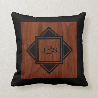 Masculine Monogram | Luxury Mahogany Wood Look Cushion