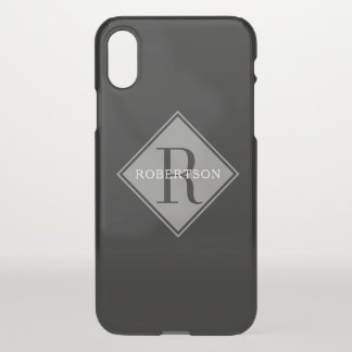 Masculine Monogram Simple Frost Overlay iPhone X Case