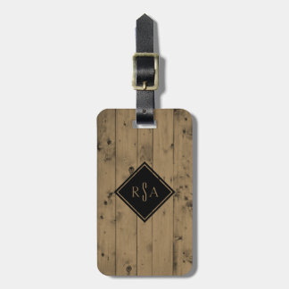 Masculine Monogrammed Initials | Rustic Wood Plank Luggage Tag