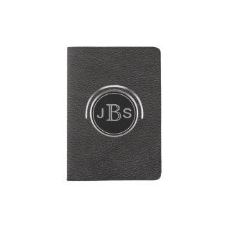 Masculine Monogrammed | Silver Black Leather Look Passport Holder