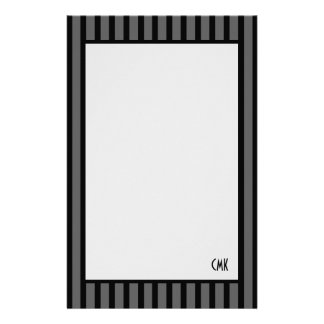 Masculine Personalized Black and Gray Stripes Stationery