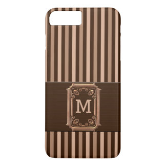Masculine Pinstripe in Brown and Tan with Monogram iPhone 7 Plus Case