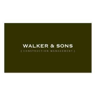 MASCULINE plain simple smart dark olive army green Pack Of Standard Business Cards