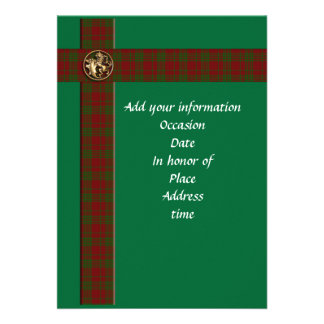 Masculine Scottish plaid and lion Invitation