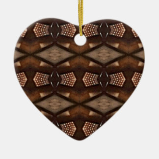 Masculine Shades of  Brown Pattern Ceramic Heart Decoration