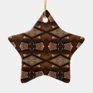 Masculine Shades of  Brown Pattern Ceramic Ornament