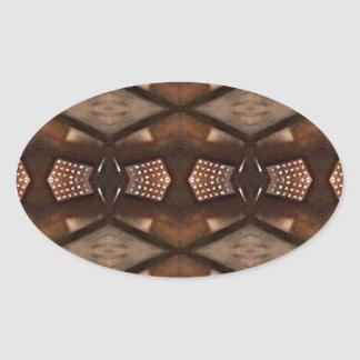 Masculine Shades of  Brown Pattern Oval Sticker