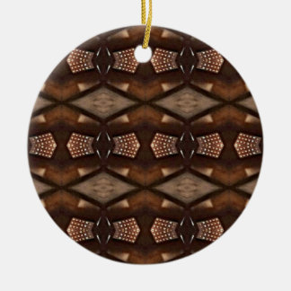 Masculine Shades of  Brown Pattern Round Ceramic Decoration