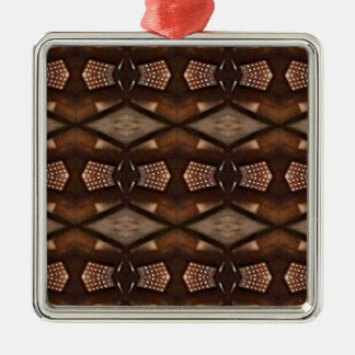 Masculine Shades of  Brown Pattern Silver-Colored Square Decoration