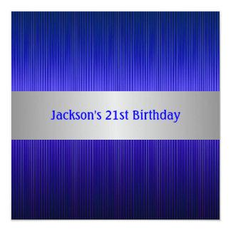 Masculine Silver Blue Stripe 21st Birthday 13 Cm X 13 Cm Square Invitation Card